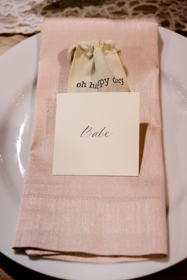 Adorable place setting for the bride/groom, photo by Chrisman Studios | junebugweddings.com