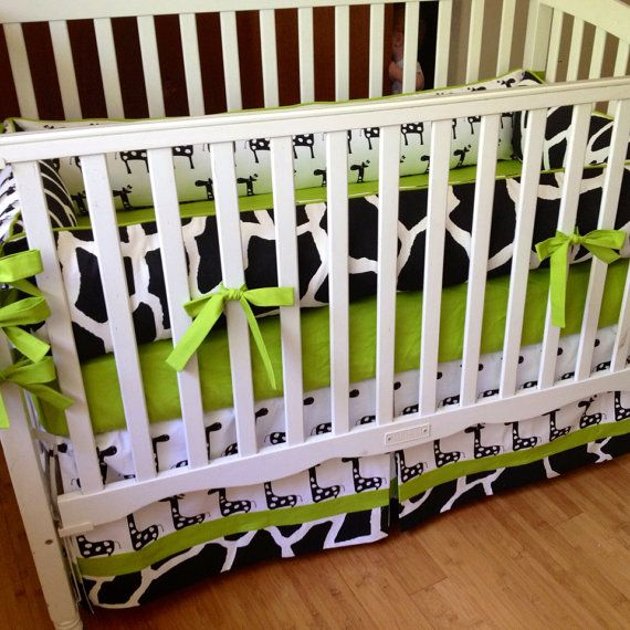Lime Green Black And White Bedroom Ideas Pop Art Bedroom Ideas Bedroom Door Decorations For Girls Teenage Bedroom Design Tumblr: Black And White Giraffe With Lime Green Accents 4pc. Crib