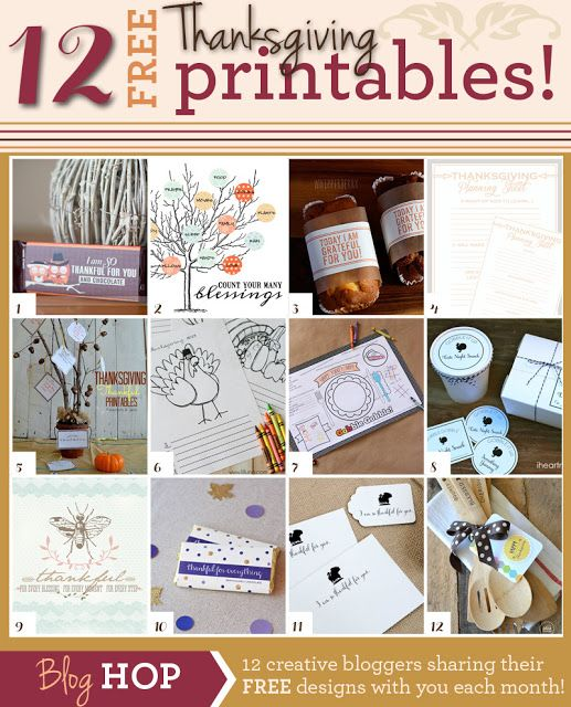 12 FREE Thanksgiving Printables - decor, games, gifts, and more!