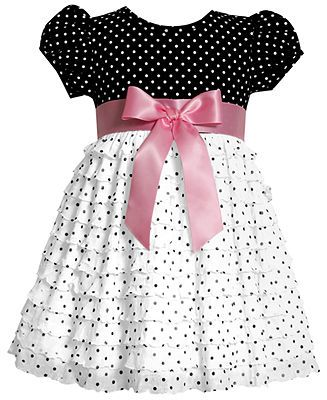 Bonnie Baby Dress, Baby Girls Eyelash Polka-Dot Dress -  Macy's