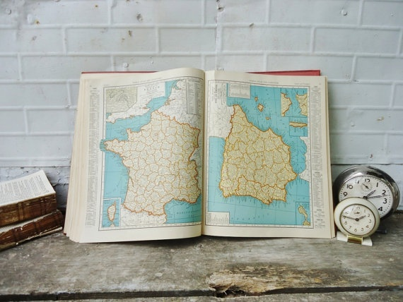 Antique 1939 Atlas - Maps - Collier's World Atlas by KnickofTime, $22.00