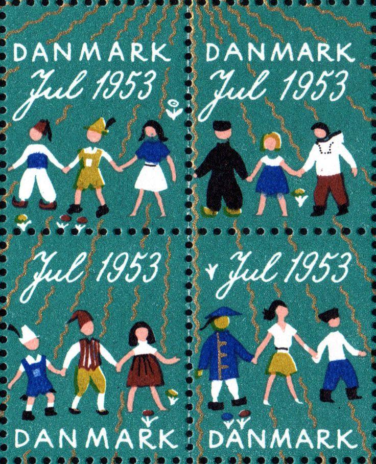 デンマーク・クリスマス・シール1953年 手をつなぐ世界の子供達 Christmas Seal of Denmark