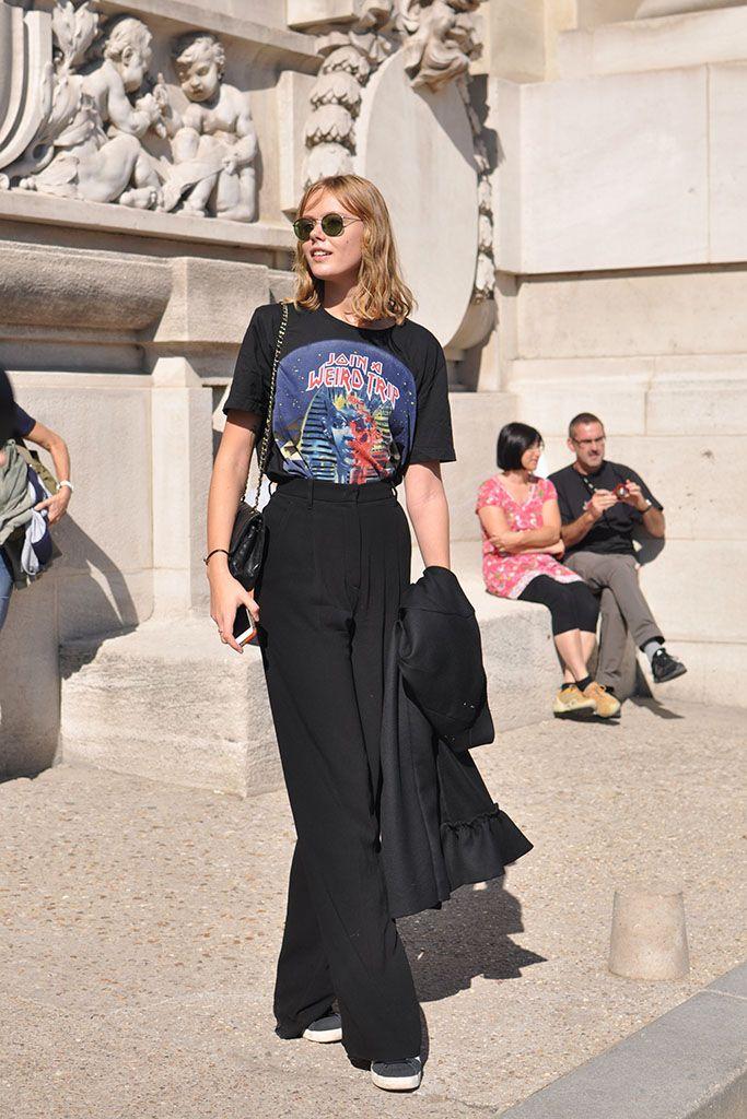 Frida Gustavsson in black, Paris