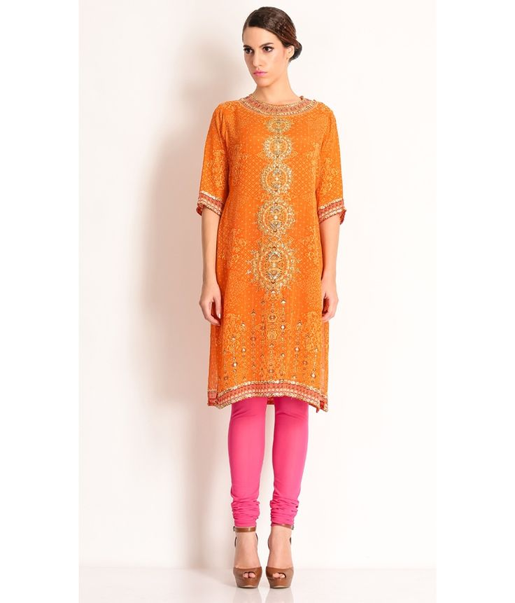 Manish Arora Self Printed Orange Tunic With Stone Work And Gold Embroidery., http://www.snapdeal.com/product/manish-arora-multi-cotton-tunic/864387924