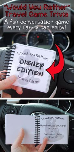"""Adelle has a fun Disney version of the """"Would You Rather?"""" game, including free questions you can download. This is perfect for traveling with the kids."""