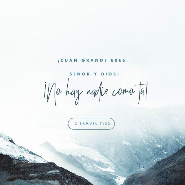 2 Samuel 7:22 RVR1960; Por tanto, tú te has engrandecido, Jehová Dios; por cuanto no hay como tú, ni hay Dios fuera de ti, conforme a todo lo que hemos oído con nuestros oídos.