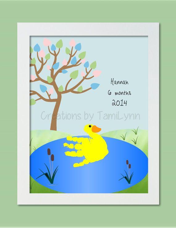 Duck Handprint Art Personalized Baby by CreationsbyTamiLynn, $20.00