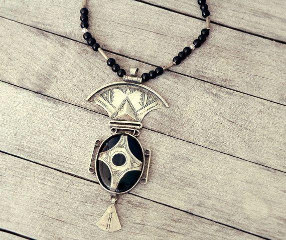 Handmade african pendant Statement necklace carneol by CarmelaRosa