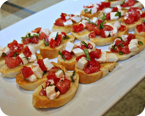 Bruschetta with Mozzarella and Tomatoes | mmm appitizers | Pinterest