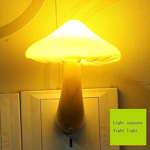 Mushroom Light Sensor LED Romantic Night Light with Plug (Yellow) - Birthday Holiday Christmas Halloween Lights Gift in Bedroom Living Room Pathway Passage qlee http://www.amazon.com/dp/B012EOI7ZE/ref=cm_sw_r_pi_dp_1QLjwb1NYY0SN