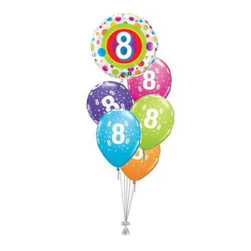 Tros Folie/Latex High-Float Ballonnen 8ste Verjaardag