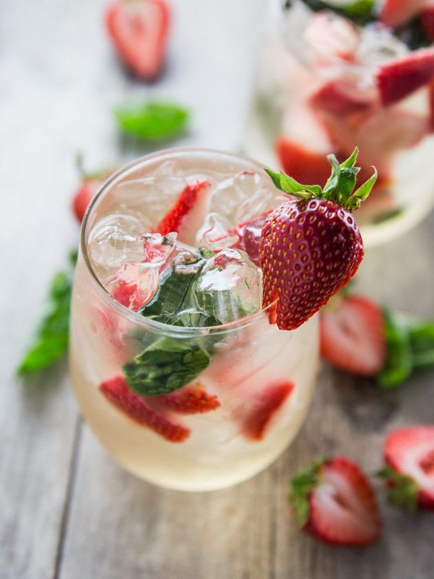 Simple Strawberry Basil Sangria, For Two