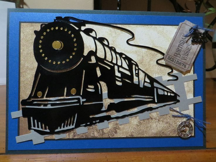 Train and tracks cut on Silhouette Cameo.