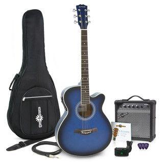 Pack Guitare Électro Acoustique Pan Coupé Simple, Bleu + Ampli 15W par Gear4music à Gear4Music.com