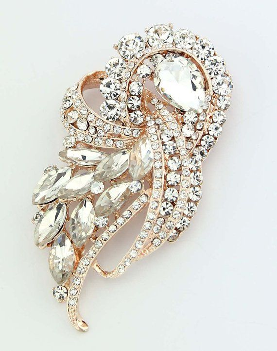 3bde3a6313a Crystal rose gold brooch, Art Deco wedding bridal jewelry rhinestone  embellishment, which can be used for your DIY project - rose gold wedding,  ...