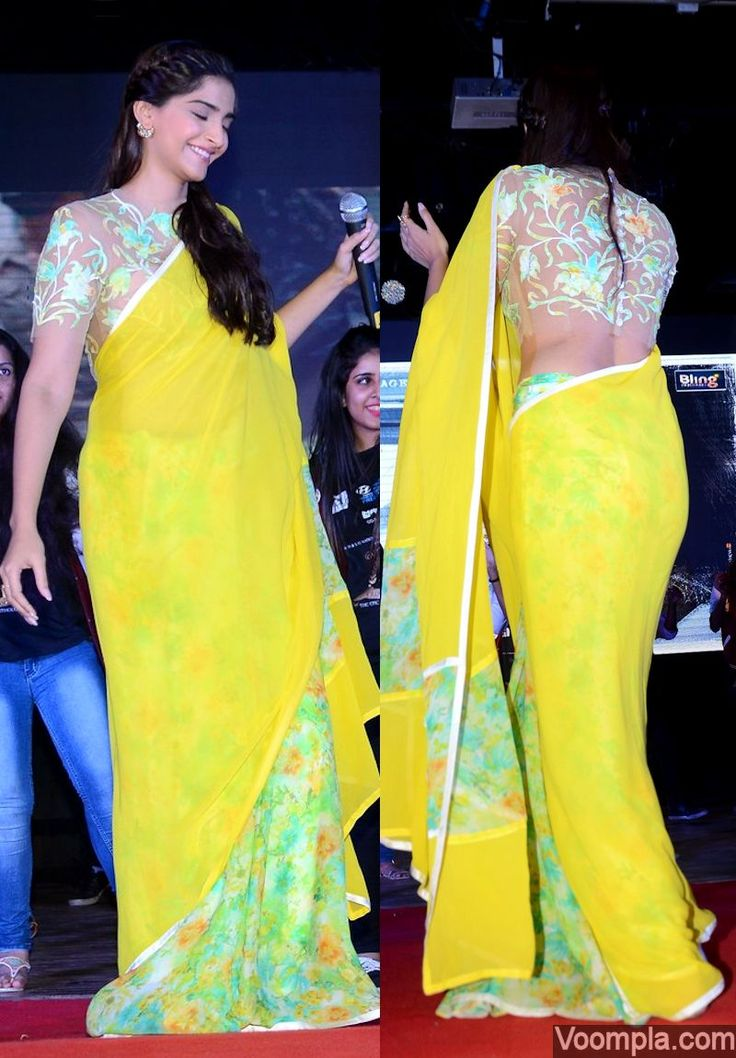 Sonam Kapoor looks beautiful in a yellow sari and sheer blouse by Abu Jani Sandeep Khosla. via Voompla.com