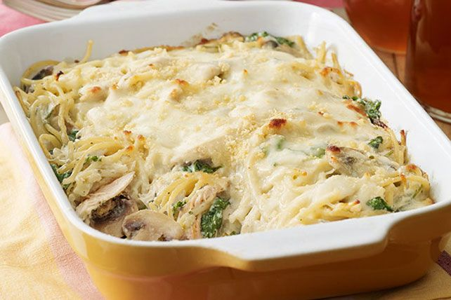 Chicken Tetrazzini Florentine: A complicated name for an easy way to get a hot, cheesy chicken and pasta bake on the table!