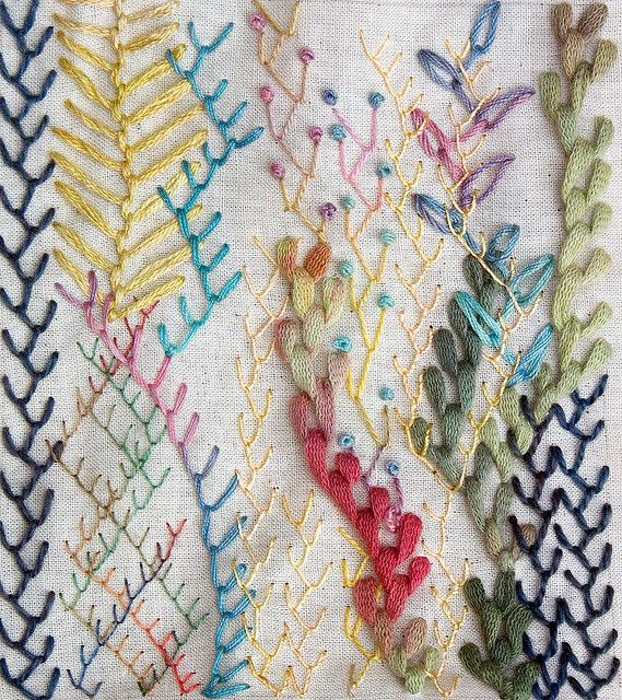 Various silk, cotton and knitting yarns were used in this Feather  stitch samp