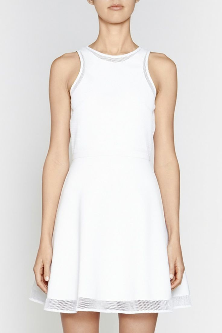 Camilla and Marc | ROTATION DRESS  US$420.30 Cocktail dress designed in a white scuba fabric with a mesh overlay at the bodice and panel at the hemline. This feminine piece features a fitted bodice, satin waistband and full skirt with an invisible zipper at the centre back.
