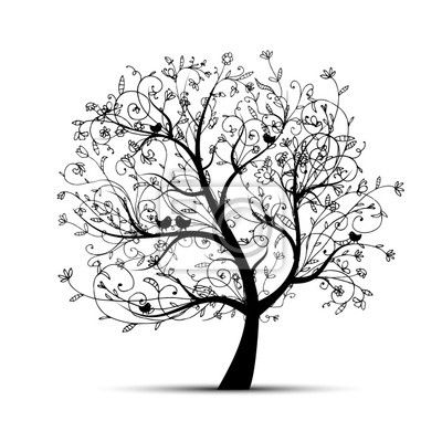 Stickers beeld, ornement, profile - art boom mooi, zwart silhouet voor uw ontwerp ✓ Brede keuze van materialen ✓ Het product aan je behoeften aangepast ✓ Bekijk de opinies van onze klanten!