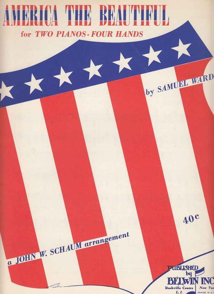 America the Beautiful 1956 Sheet Music for Two Pianos Four Hands Samuel Ward