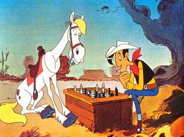Les chevaux de fiction - Jolly Jumper - Jolly Jumper et Lycky Luke jouant aux échecs