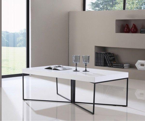 B-Modern - Mixer High-Gloss White and Black Steel Coffee Table - BM-300-WHT-B