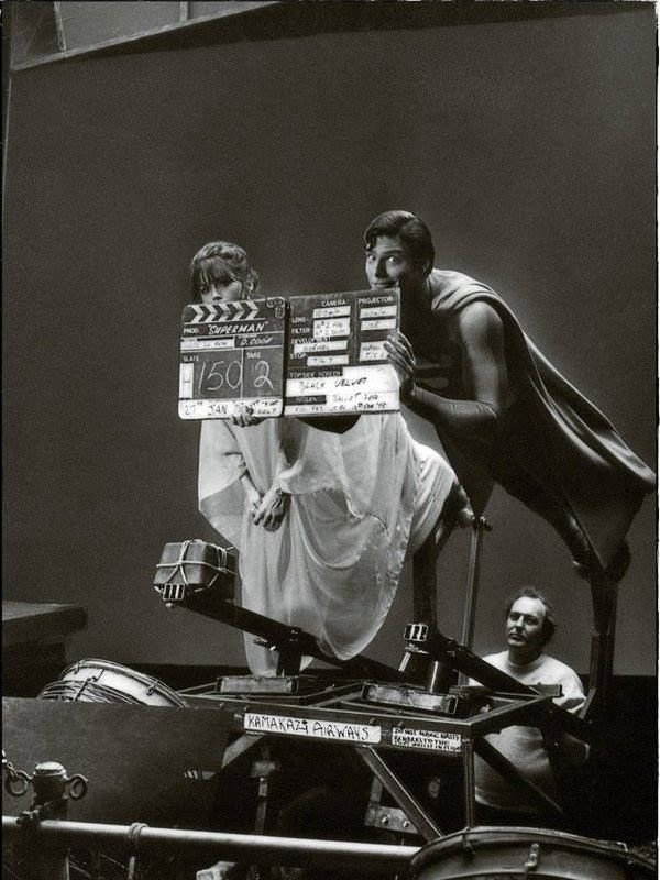 Christopher Reeve and Margot Kidder filming the first Superman movie, 1978.