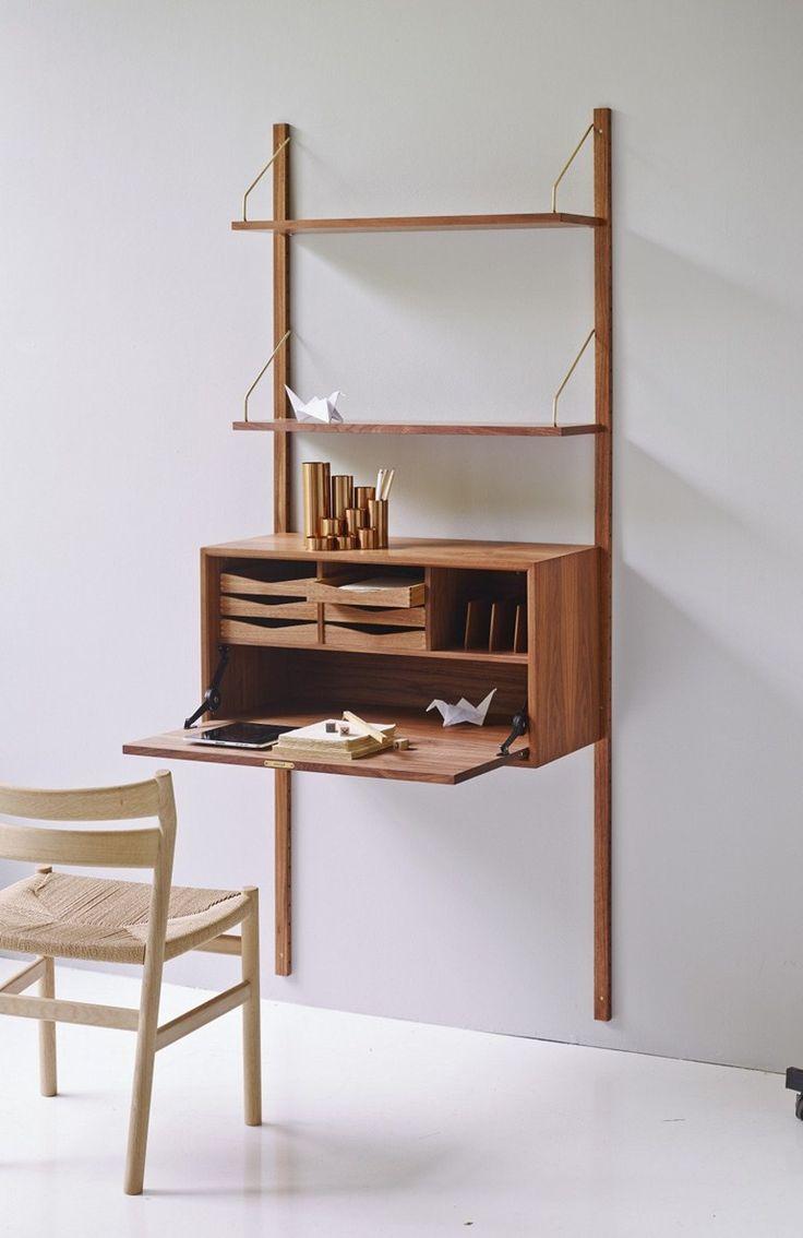 Wall-montado nogal sección estanterías unidad REAL SYSTEM® | Nogal estantería - DK3