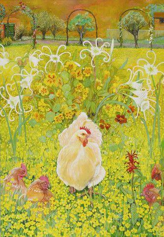 Курица в обнесенный стеной сад