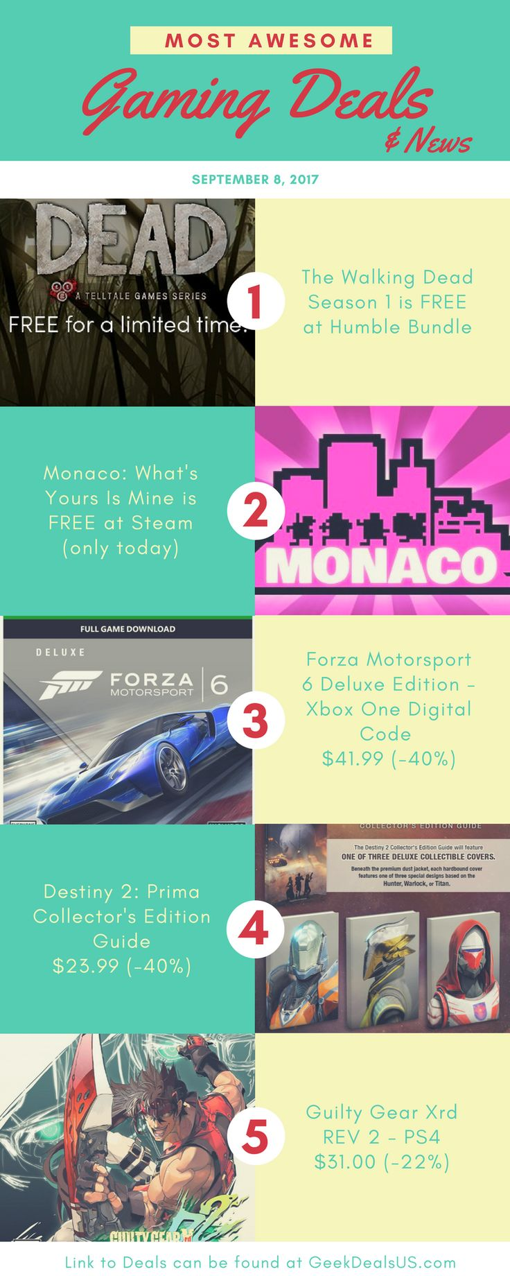 Most Awesome Gaming Deals & News Today - Two FREE games - Walking Dead season 1 & Monace Cheap Destiny 2 Prima Collector's Guide & more