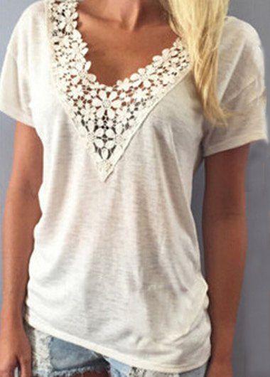 Sweet Women's V-Neck White Lace Spliced Short Sleeve T-Shirt