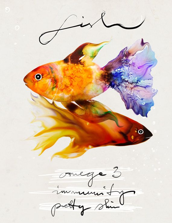 Watercolor Food Illustration art giclée print signed by the artist Food Series Fish