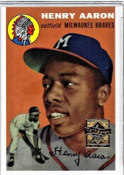 1954 Topps Hank Aaron Milwaukee Braves 128 Baseball Card