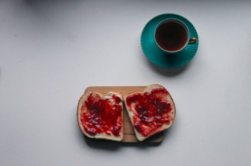 Jam on toast and coffee. Perfect.