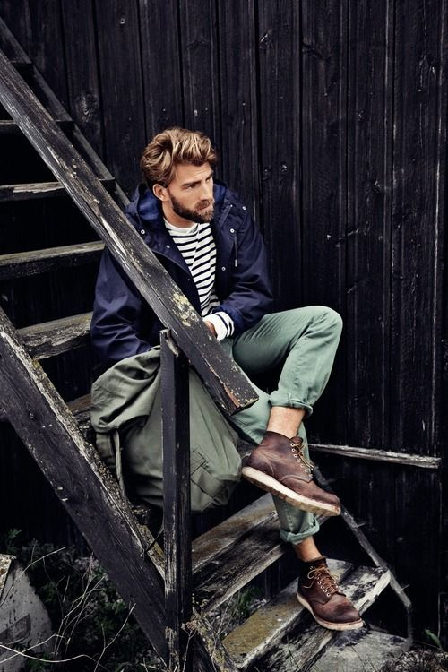 Shop this look on Lookastic:  https://lookastic.com/men/looks/parka-crew-neck-sweater-chinos-boots-backpack/6021  — Dark Brown Leather Boots  — Olive Canvas Backpack  — Olive Chinos  — White and Black Horizontal Striped Crew-neck Sweater  — Navy Parka