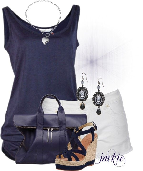 Casual Outfit: Shorts Outfit, Navy And White, White Shorts, Casual Outfit, Casual Summer, Summer Outfit, Dream Closet, Fashionista Trends, Navy Summer Shorts