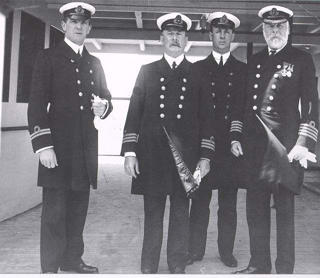 Titanic's Crew:  Left to Right: William McMaster Murdoch, Charles A. Bartlett, Henry Tingle Wilde and Captain Edward John Smith