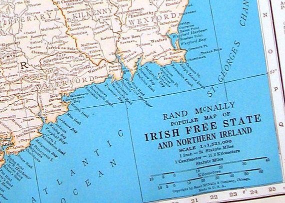 Irish Free State and Northern Ireland Map, Denmark and Iceland Map - 1936 Vintage Map from World Atlas 11 x 14