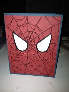 9/24/2012; Michelle at 'Michelle's Craft Corner' blog; Spiderman card using SU products; Spider web EF, Full Heart punch