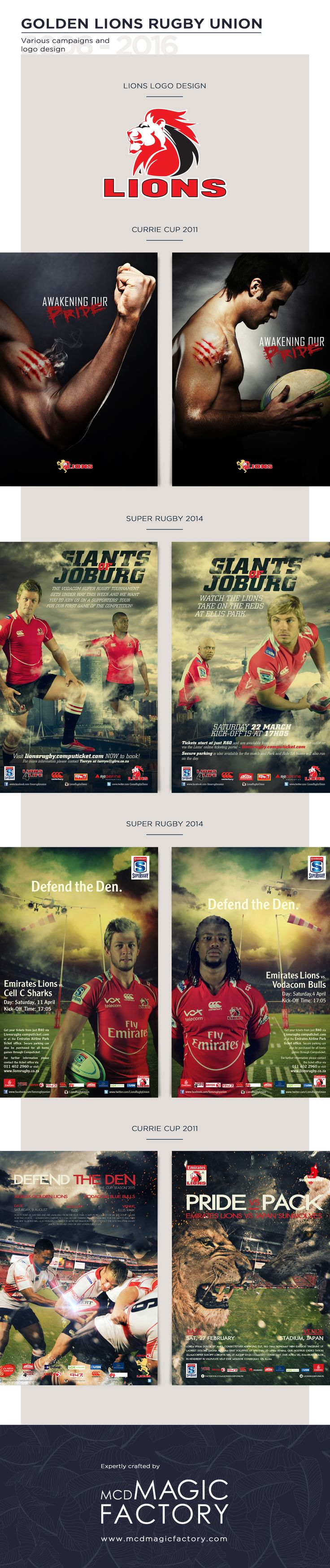 Client: Lions | Year 2011 and 2014 | We designed the campaign and logo for the Lion's rugby team ahead of their participation in the Currie Cup and Super Rugby competition.