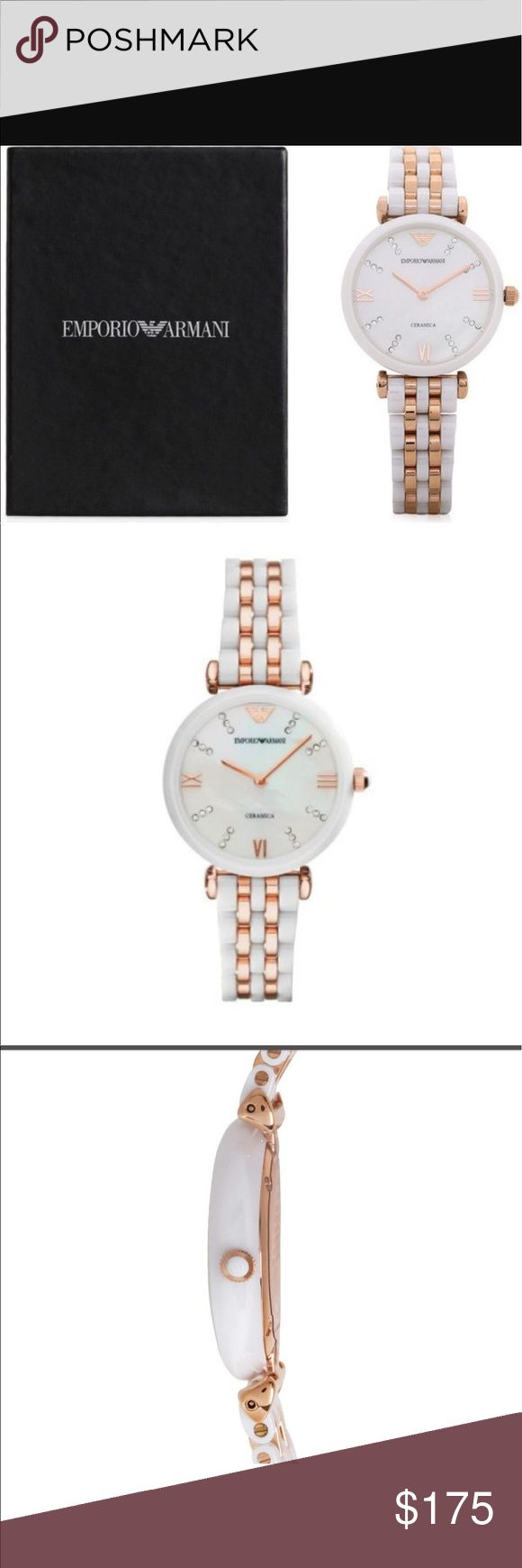 Emporio Armani Ceramic Watch ⌚️ Round; Approx. 32 mm Diameter x 7 mm Thickness White ceramic Rose Gold Tone Hands & Hour Posts, and also Clear Crystal Hour Posts Rose Gold Tone Emporio Armani Logo 12 O'Clock Hour Post High Quality Japanese Quartz Movement White Mother-of-Pearl Dial Face Scratch-Resistant Mineral Glass Crystal  Rose Gold Tone Crown   Polished Stainless Steel Back  Gleaming White Ceramic and Rose Gold Tone Bracelet  Secure Hidden Push Button Clasp Closure  Water Resistant (3…