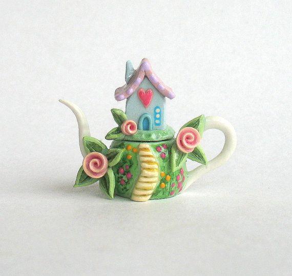 Miniature Sweetheart House on Hill Teapot OOAK by ArtisticSpirit