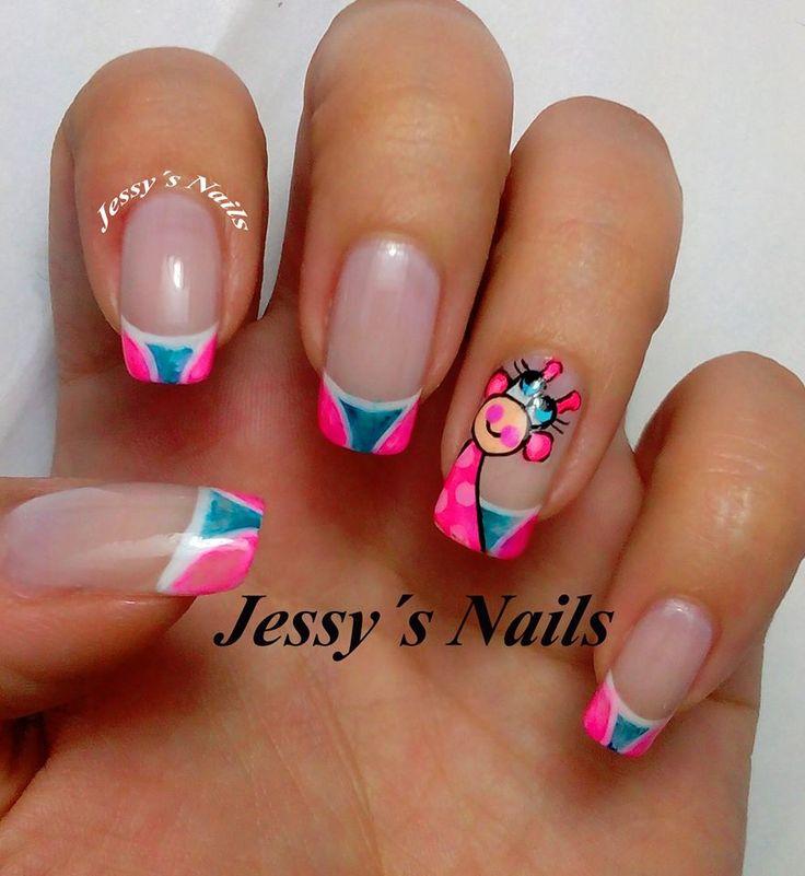 uñas decoradas con sharpie #sharpienails #uñas #sharpie #jirafa