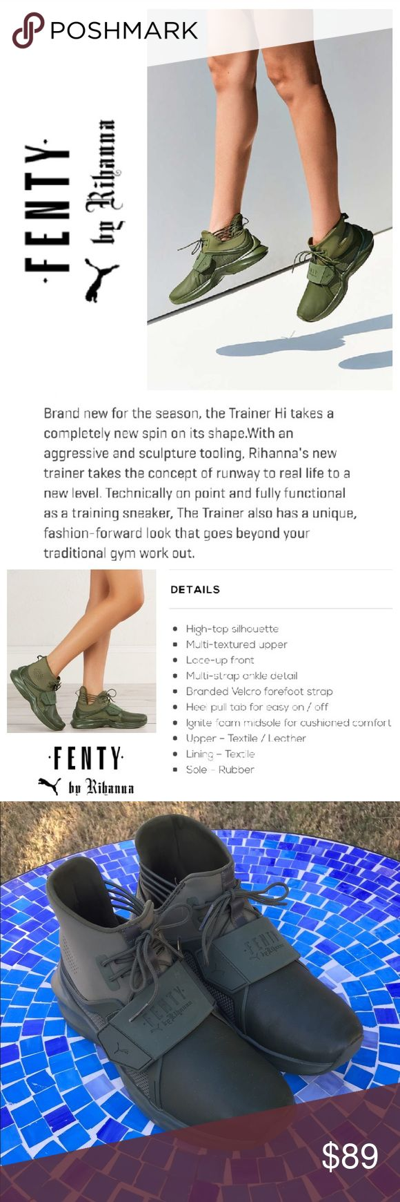 GREAT SHAPE!  PUMA Fenty Trainer high top sneakers Fabulous Puma Fenty by Rihanna trainers are perfectly on-trend & available in a unique, yet versatile shade of 'Cypress' to add a modern touch to all your activewear!  Made from butter-soft leather & high-end materials to create a fashion-forward shoe that may become your favs!  Size is 7.  Gently worn, with barely any wear.  In excellent condition!  Retail at $190!  No trades please. Puma Shoes Sneakers