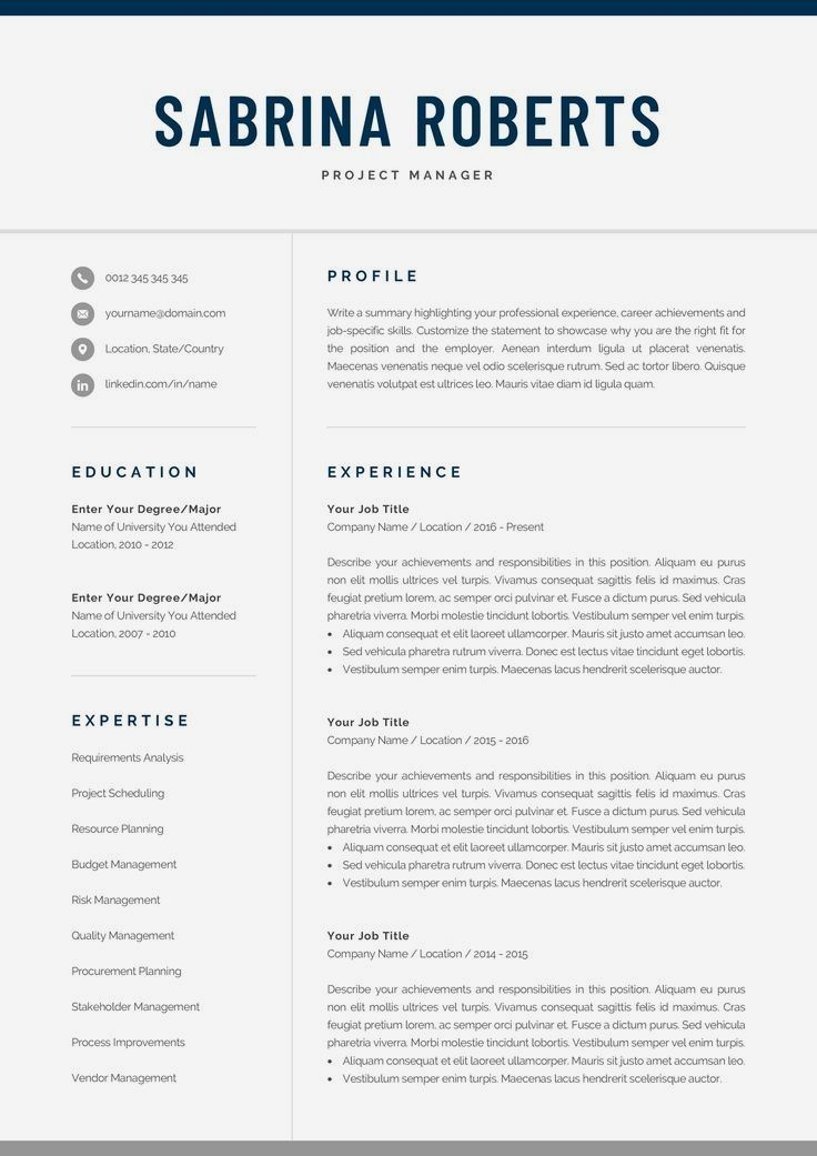 Resume Examples By Industry And Job Title Resume Template One Page Resume Resume Template Word