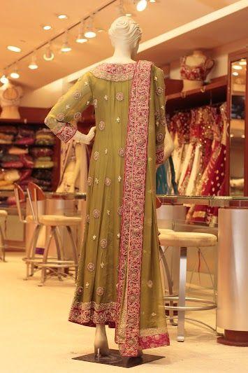 MEHNDI GREEN PAKISTANI BRIDAL (Price: $3995) Design No: LQ1 Embroidery: Zardosi and Stone work Fabric: Chiffon For more information please contact sales@sahil.com