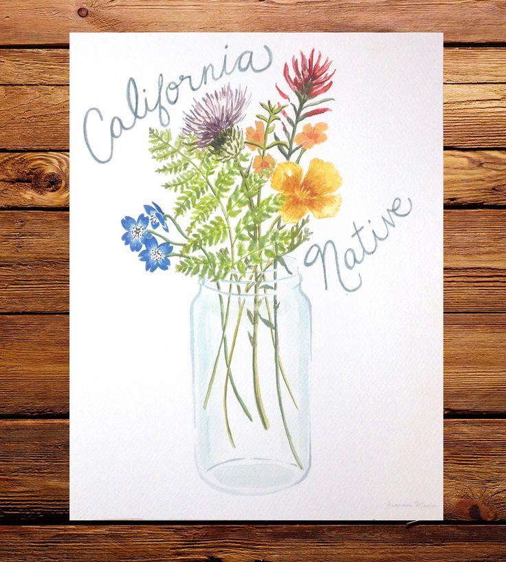 California Native Plant Landscape Design Examples: California Native Mason Jar Bouquet Art Print By Frances