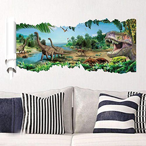 3d dinosaurs through the wall stickers jurassic park home decoration diy cartoon kids room 1458 wall decal movie mural a @ niftywarehouse.com #NiftyWarehouse #JurassicPark #Jurassic #Dinosaurs #Film #Dinosaur #Movies