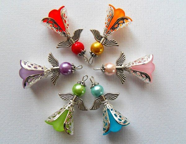 Bead Angels using bead caps are pretty. #Anything4uCreations  #WhimsyFavorites #Angels